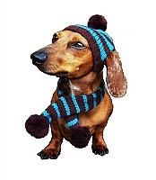 Turquoise/Brown Striped Hat & Scarf